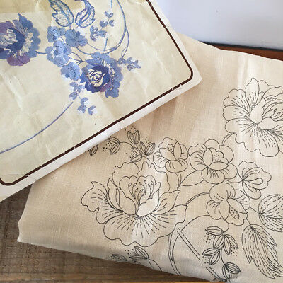 Vintage Unworked Linen Tablecloth - Embroidery stamped - Floral Semco