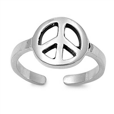 Adjustable 925 sterling Silver Peace Toe Ring Highly polished and Rhodium plated