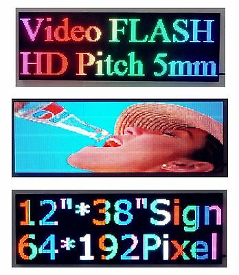 """Video Full Color P5 HD 38""""x 12"""" LED Sign Programmable Scrolling Message Display"""