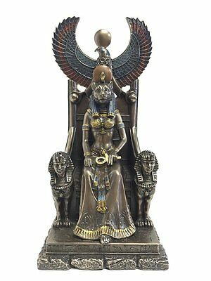 "11"" Egyptian Goddess Sekhmet on Throne Egypt Decor Statue Sculpture Figure"