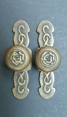2 UNIQUE VINTAGE ANTIQUE SOLID BRASS Rose FURNITURE HANDLES KNOBS  PULLS #Z19