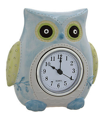 Clock Baby Owl Blue 14cm NEW
