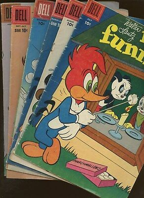 New Funnies 233,238,258,276,279,281 ~ 6 Books* Walter Lantz's Woody Woodpecker!