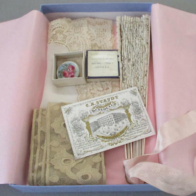 Antique French FAN Brussels LACE Hanky MOP Button HP ROSES ++ Confection Box