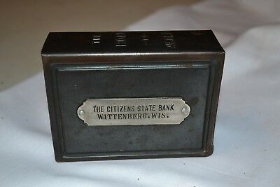 Citizens State Bank Wittenberg Wis. Metal Book Bank
