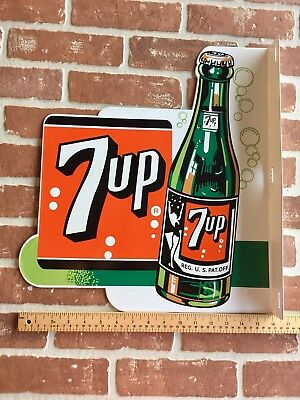 7 Up Soda Porcelain Double Sided Flange Sign. Bubble Girl Graphics In Bottle. 😎