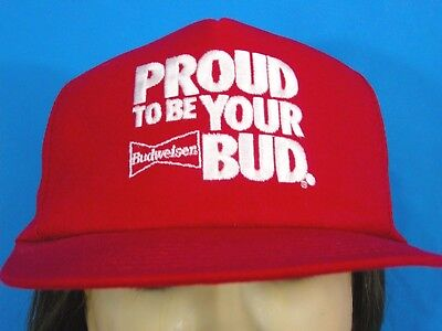 fd285937aa1 Budweiser VTG Hat Proud To Be Your Bud Red Snapback Cap USA Trucker Hip Hop  Gift