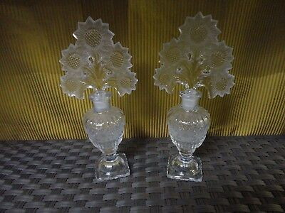 A pair of Antique Vintage Clear  Perfume Bottles  Large Floral Glass Stopper