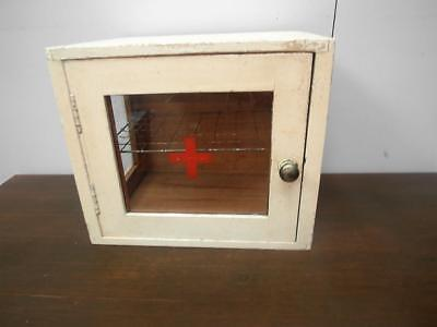 Small VINTAGE Industrial TIMBER & Glass MEDICAL Medicine CABINET QZZQ Adelaide