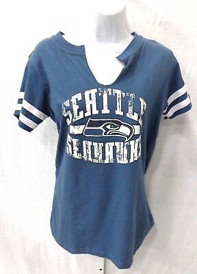 fd96e749 NWT LADY 12 Seattle Seahawks White/Blue Floral V-Neck Short Sleeve ...