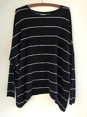 Seed Women's Navy White Striped Asymmetrical Top Size M Excellent Condition