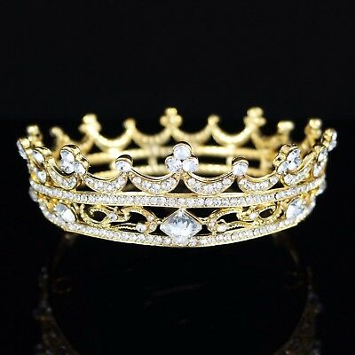 Queen Austrian Crystal Rhinestone Full Hair Crown Tiara Prom Bridal Wedding T43g