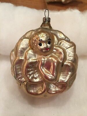 Antique German Figural Hand Blown Glass Girl in Flower Double Sided Ornament