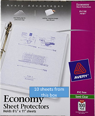 Avery Page Sheet Protectors 8.5 x 11, 3 Ring, Semi-Clear, Qty 10, 74101