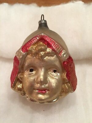 Antique German Figural Blown Glass Dutch Girl Head Face Ornament