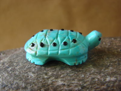 Zuni Indian Hand Carved Turquoise Turtle by Danette Laate! FF361