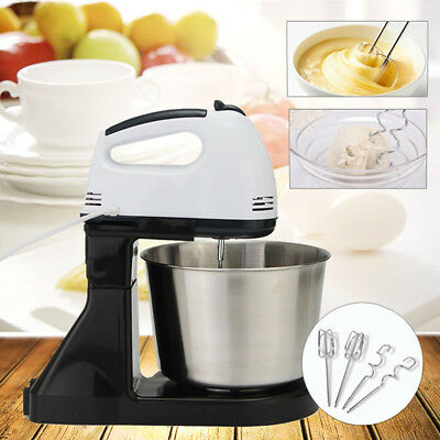 Electric Hand Mixer Blender Mixing Tool 7 Speed Egg Dough Cake Kitchen With Bowl