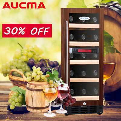 AUCMA Wine Cooler 52L Brown Fridge Cabinet LED Display Chiller With Lock