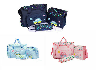 4pcs Car Style Baby Nappy Changing Bags Cute as a Button Diaper Hospital Bag