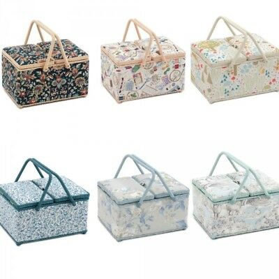 Twin Lid Large Sewing Basket Craft Sewing Box