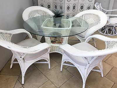 Shabby White Chic French Provincial Cane Dining Set 5pc Table & Chairs 4 patio