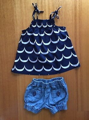 Baby Girl Country Road Top & Denim Shorts Size 3-6 Months