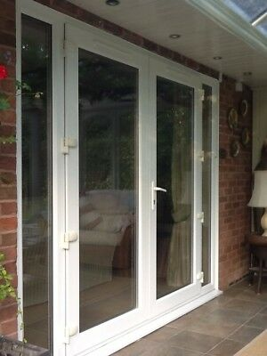 Patio doors and side panels white upvc double glazed for Used upvc patio doors