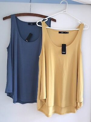 Sportsgirl Women's Blue Yellow Singlet Tops Size M New With Tags