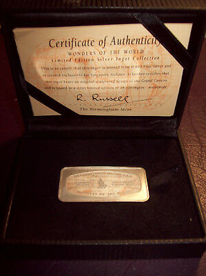 Silver Ignot - 0.800 Fine - Singapore Airlines - Limited Edition- Grand Canyon