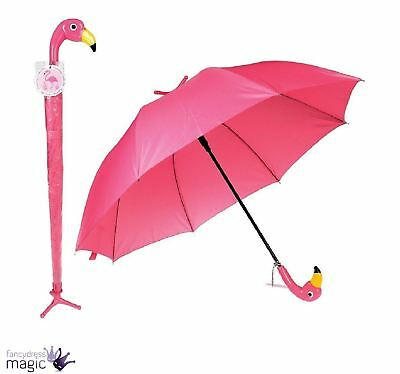 Adults Pink Flamingo Free Standing Stand Automatic Folding Umbrella Brolly Gift