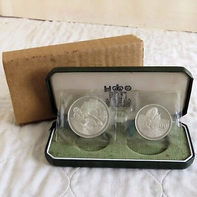 CYPRUS 1976 REFUGEES SILVER PROOF 2 COIN SET - still mint sealed /boxed/outer