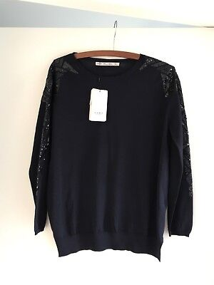 Zara Women's Navy Knit Sequin Top Jumper Size L New With Tags!