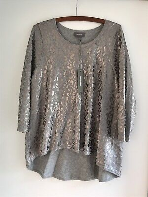 Sussan Women's Grey Leopard Foil Top Jumper Size L New With Tags!