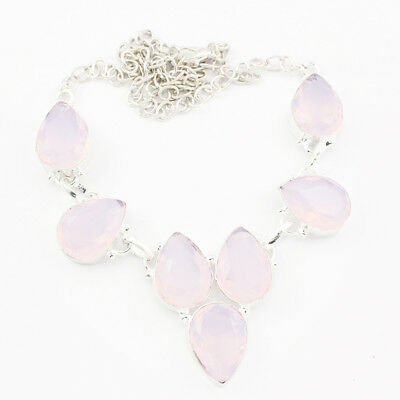 925 Sterling Silver Overlay Rosequartz Necklace Handmade Fashion Jewellery