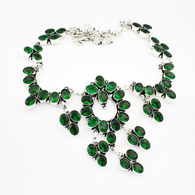 925 Sterling Silver Overlay Tsavorite Quartz Necklace Fashion Jewellery