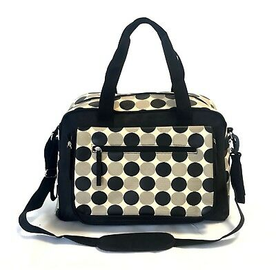 Laminated Black Cream Polka Dots Large Baby Nappy Diaper Changing Bags Bag 9071