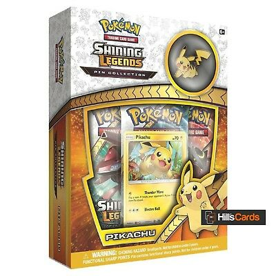 Pokemon: Pikachu Shining Legends Pin Collection Box Inc Booster Packs Promo Card