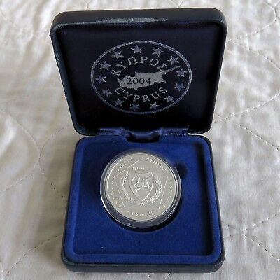 CYPRUS 2004 SILVER PROOF PIEDFORT 5 EURO ESSAI PATTERN - boxed