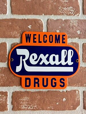 Rexall Drugs Porcelain Palm Press Door Push Sign. Welcome. 😎