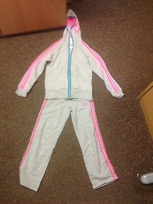 Girls Adidas Jogging Tracksuit Suit, Age 7-8 Years,