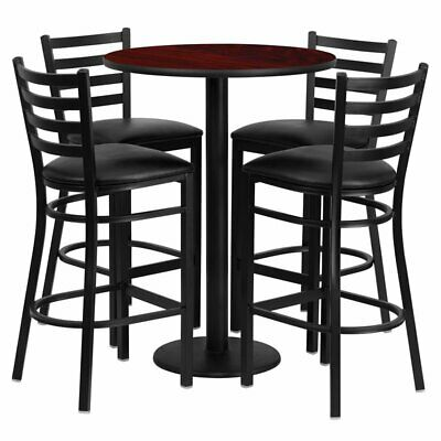 Flash Furniture 5 Piece Round Table Set in Black and Mahogany