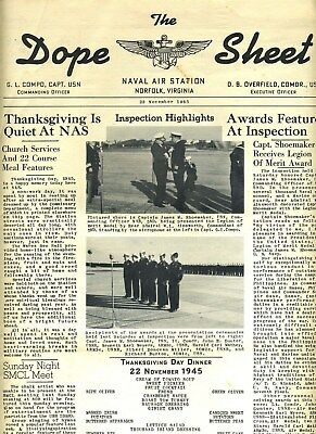 Naval Air Station Norfolk Virginia DOPE SHEET 1945 Weekly Newspaper