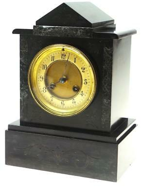 French Black Slate & Marble Mantel Clock - Working Order Case is slightly aged