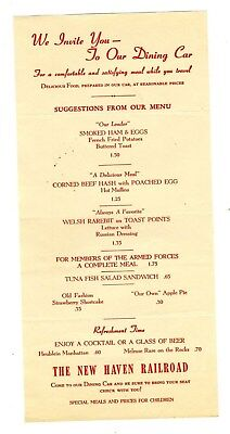 The New Haven Railroad Dining Car Menu 1940's Armed Forces Meals