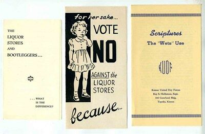 Kansas Prohibition Vote No Brochures Bootleggers 1948 United Dry Forces