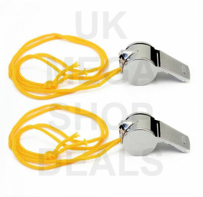 2 X Metal Referee Whistle With Key Ring Sports Pe School Football Rugby Outdoor