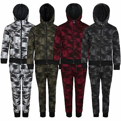 Kids Camouflage Fade Print Tracksuit Hooded Top Jogging Bottoms Sizes 3-14 Years