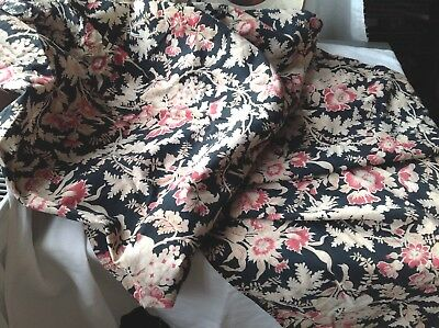 Antique French Fabric Panel Floral Black Pink Cotton Vintage Furnishings Project