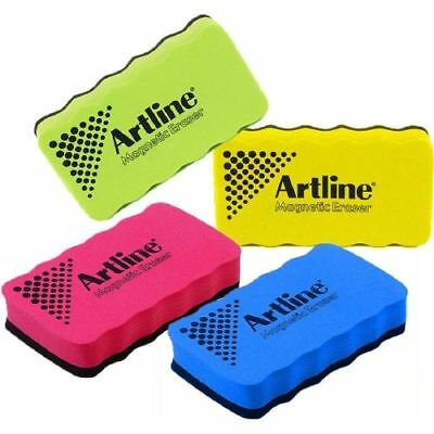 4 x Artline ERT-MM Magnetic White Board Erasers -Assorted Colours-