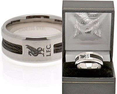 Liverpool FC Edelstahl schwarz Inlay Band Ring komplettes in Gift Schachtel LFC